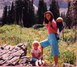 Penny on nature hike to Cecret Lake with her 2 oldest in 1987