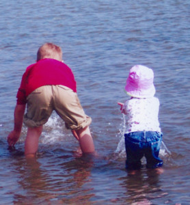 Penny youngest child and oldest grandchild playing in Atlantic